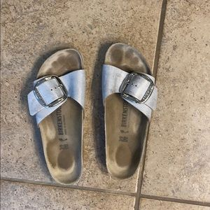 Silver metallic Birkenstocks